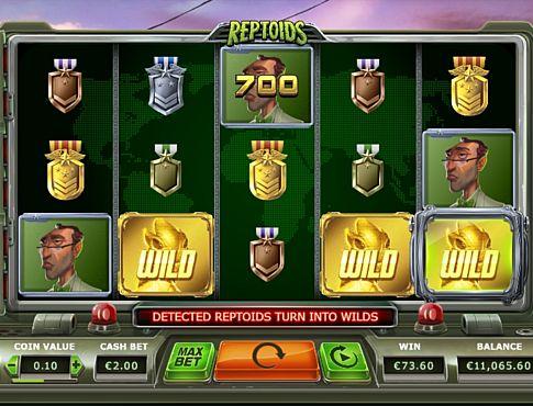 Призова комбінація з диким знаком в ігровому автоматі Reptoids