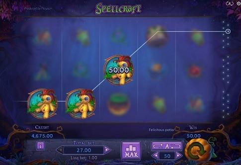 Комбінація символів на лінії в ігровому автоматі Spellcraft