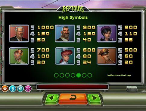 Виплати за символи в онлайн апараті Reptoids