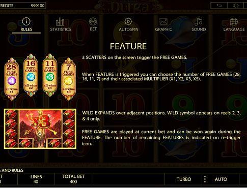 Фріспіни і виплати за Wild в онлайн слоті Durga