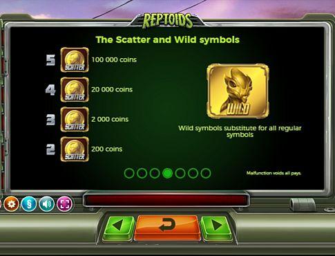 Wild и Scatter в слоті Reptoids
